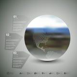 den olika jordklotillustrationvektorn visar världen Infographic mall för affär Arkivfoto