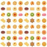 Den olika kakan bakar ihop illustrationen för vektorn för efterrätten för det sömlösa för modellbakgrund söta mellanmålet för mat vektor illustrationer