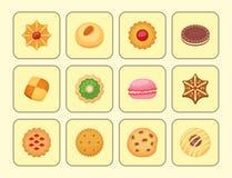 Den olika kakan bakar ihop illustrationen för vektorn för efterrätten för det söta mellanmålet för mat för den bästa sikten smakl royaltyfri illustrationer