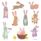 Den olika kaninen för påskkaninteckenet poserar vektoruppsättningen Royaltyfri Bild
