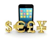 Den olika valutor och mobilen ringer. Arkivbild