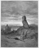 Den olydiga profeten dräpas av en lion royaltyfri fotografi