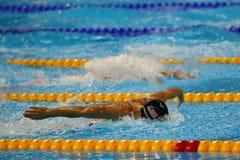 Den olympiska mästaren Dana Vollmer av USA konkurrerar på kvinnornas finalen för relän för den 400 meter medleyn av Rio de Janeir Royaltyfri Bild