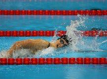Den olympiska mästaren Katie Ledecky av Förenta staterna konkurrerar på kvinnornas den 800m fristilen av Rio de Janeiro 2016 OS Arkivbild