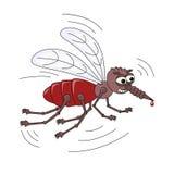 Den onda läskiga myggan med en droppe av blod på sticker huvudet för uppnosiga gulliga hundar för bakgrundstecknad filmteckenet i stock illustrationer