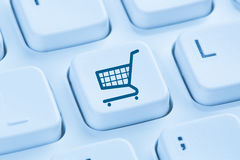 Den online-internet för den shoppinge-komrets ecommercen shoppar begreppsblått