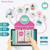 Den online-lagerbanret och symbolen för behandla som ett barn shoppar hjälpmedlet Arkivbilder