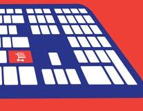 Den online-shopping eller internet shoppar begrepp, med symbol för shoppingvagn bakgrunds- och färgbroschyr Royaltyfria Foton