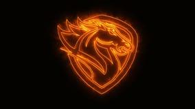 Den orange brinnande huvudhästen animerade Logo Element med avslöjer effekt stock illustrationer
