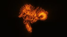 Den orange brinnande motocrosscykeln Logo Element med avslöjer effekt stock illustrationer