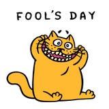 Den orange katten gör en rolig framsida April ferie också vektor för coreldrawillustration royaltyfri illustrationer