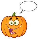 Den orange pumpagrönsaktecknade filmen Emoji vänder mot teckenet med galet uttryck vektor illustrationer