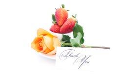 Den orange ron, kort med uttrycker tackar dig och kuper är Fotografering för Bildbyråer