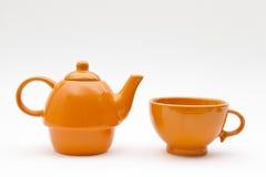 Teapoten och kuper Arkivbild