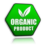 Den organiska produkten med bladet undertecknar in den gröna knappen Royaltyfri Fotografi