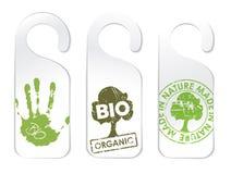 den organiska produktseten tags tre Arkivfoto