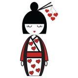 Den orientaliska japanska geishadockan med kimonot med orinetal hår klibbar med hjärtabeståndsdelar Arkivbild