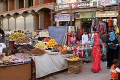 Den orientaliska marknaden av Aswan i Egypten Royaltyfria Foton