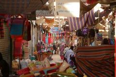 Den orientaliska marknaden av Aswan i Egypten Arkivfoto
