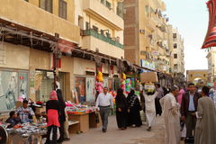 Den orientaliska marknaden av Aswan i Egypten Royaltyfri Fotografi