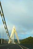 Den original- Chavanon för huvudvägupphängningbro viadukten i Messeix, Frankrike Royaltyfri Foto