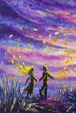 Den original- den målningabstrakt begreppmannen och kvinnan dansar på solnedgång Natt natur, landskap, purpurfärgad stjärnklar hi Royaltyfria Bilder