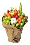 Den original- ovanliga ätliga grönsak- och fruktbuketten på vit Royaltyfria Foton