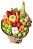 Den original- ovanliga ätliga grönsak- och fruktbuketten på vit Arkivfoton