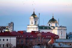 Den ortodoxa domkyrkan för helig Treenighet i Lutsk, Ukraina Arkivbild