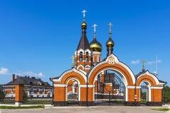 Den ortodoxa kyrkan av Elijah profeten i staden av Kargat, Royaltyfri Bild