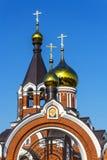 Den ortodoxa kyrkan av Elijah profeten i staden av Kargat, Arkivbild