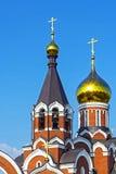 Den ortodoxa kyrkan av Elijah profeten i staden av Kargat, Arkivfoton