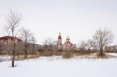 Den ortodoxa kyrkan i den bevuxna ofruktbara marken i vintern Royaltyfri Foto
