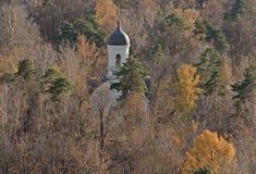 Den ortodoxa kyrkan som fick borttappad i träna av Moskvaområde Royaltyfria Foton