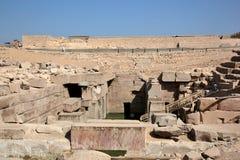 Den Osirion templet på Abydos, Egypten Arkivfoto