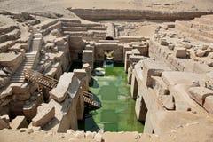 Den Osirion templet på Abydos, Egypten Arkivbild