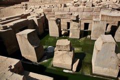 Den Osirion templet på Abydos, Egypten Arkivbilder