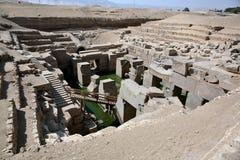 Den Osirion templet på Abydos, Egypten Royaltyfri Foto