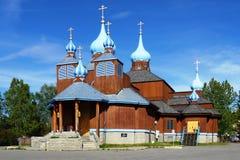 Den oskyldiga ryska ortodoxa domkyrkan för St i ankring, Alaska Royaltyfri Bild