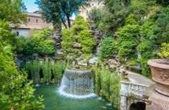 Den ovala springbrunnen i ` Este, Tivoli, landskap för villa D av Rome, Lazio, centrala Italien Arkivbild
