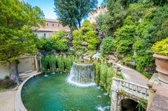 Den ovala springbrunnen i ` Este, Tivoli, landskap för villa D av Rome, Lazio, centrala Italien Arkivfoto