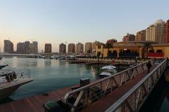 Den pärlemorfärg utvecklingen i Qatar Arkivfoto