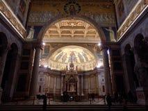 Den påvliga basilikan av St Paul utanför väggarna i Rome royaltyfria foton
