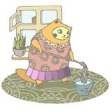 Den pösiga katten kopplas in i våren som gör ren huset vektor illustrationer