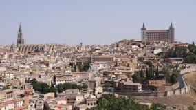 Den panorama- sikten av Toledo i Spanien Arkivbilder