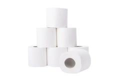 den paper stapeln rullar toaletten Arkivfoto