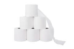 den paper stapeln rullar toaletten Fotografering för Bildbyråer