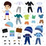 Den pappers- dockavektorpojken klär upp att bekläda med modeflåsanden eller skor den pojkaktiga uppsättningen för illustrationen  Arkivbild