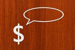 Den pappers- dollaren talar eller tänker Abstrakt begreppsmässig bild Royaltyfria Bilder