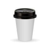 Den pappers- kaffekoppen som illustration av kaffe tar ut Royaltyfri Bild